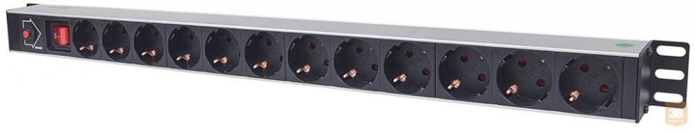 Intellinet függőleges elosztó, rack 250V/16A 12x Schuko 1,6m kapcsoló