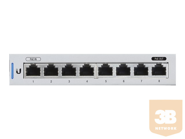 Ubiquiti US-8 - Fully Managed 8-port Gigabit UniFi switch 1 PoE Passthrough Port